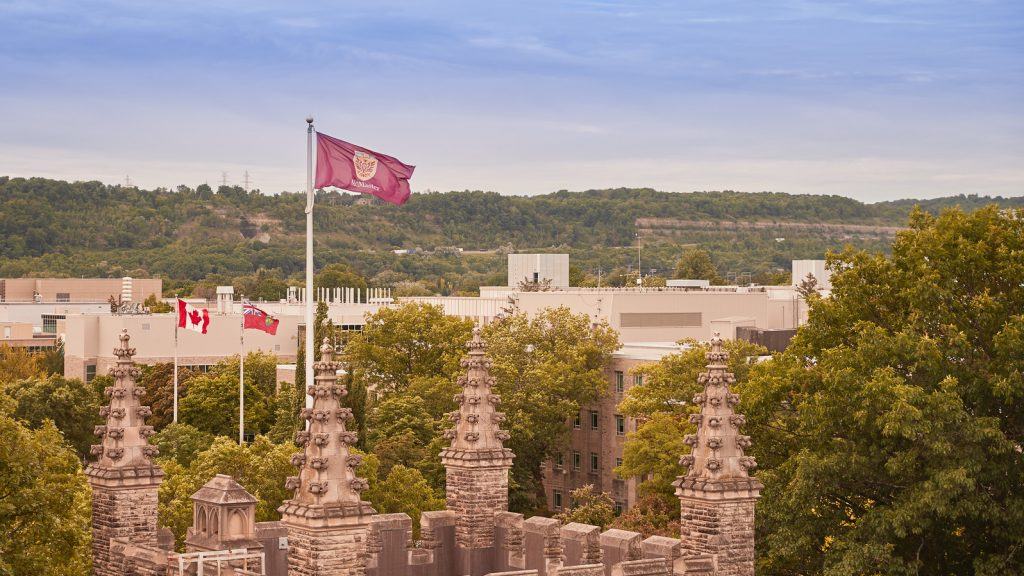 McMaster Campus with Flag